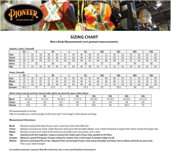 Pioneer Size Chart Safetywear
